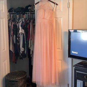 Bill Levkoff blush pink bridesmaids dress